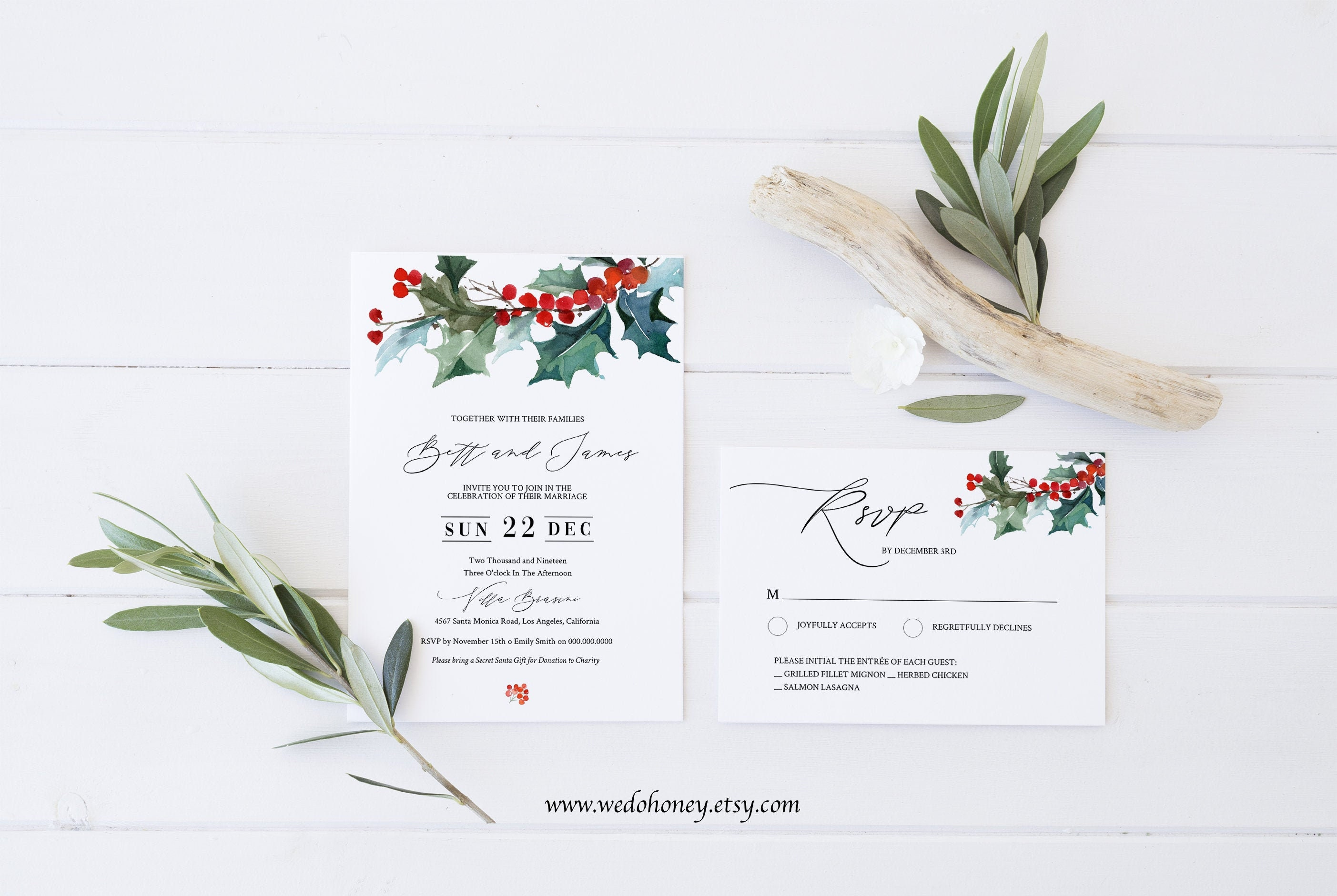 Winter Wedding Invitation Suite, Editable Template, Rustic Holiday Foliage Invitation, RSVP and Details Card, Edit with Corjl