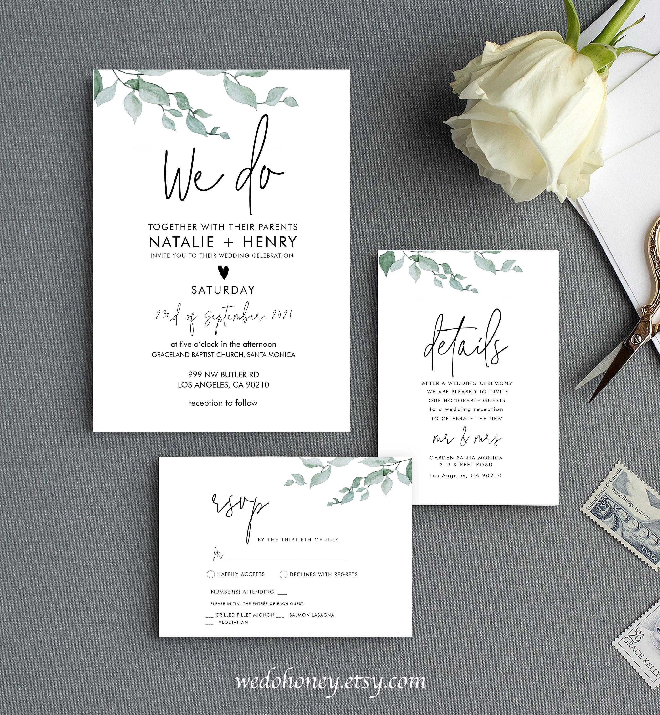 Foliage Wedding Invite Set, RSVP and Details, Watercolor Leave, Editable Suite Template, Corjl #032