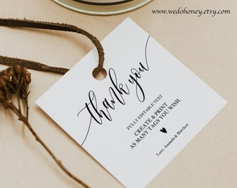 Editable Thank You Tags, Personalized Wedding Favors, Square 2x2 and 2.5x2.5''Template #0033