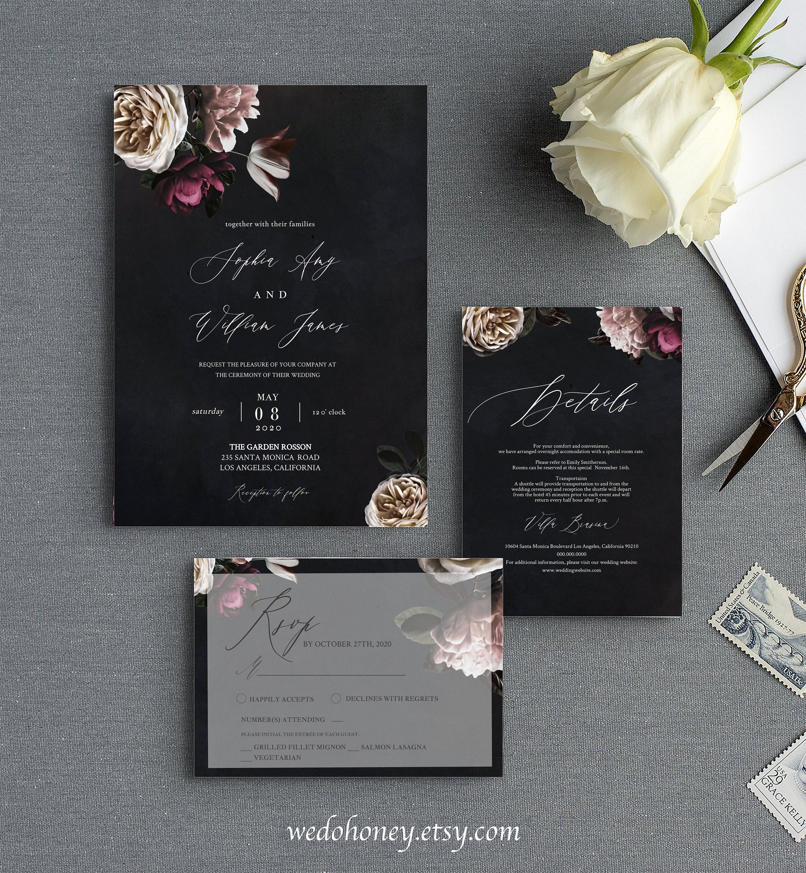 Moody Wedding Invitation Suite, RSVP and Details Card, Botanical Set Invites, Editable Text with Corjl #WDH045