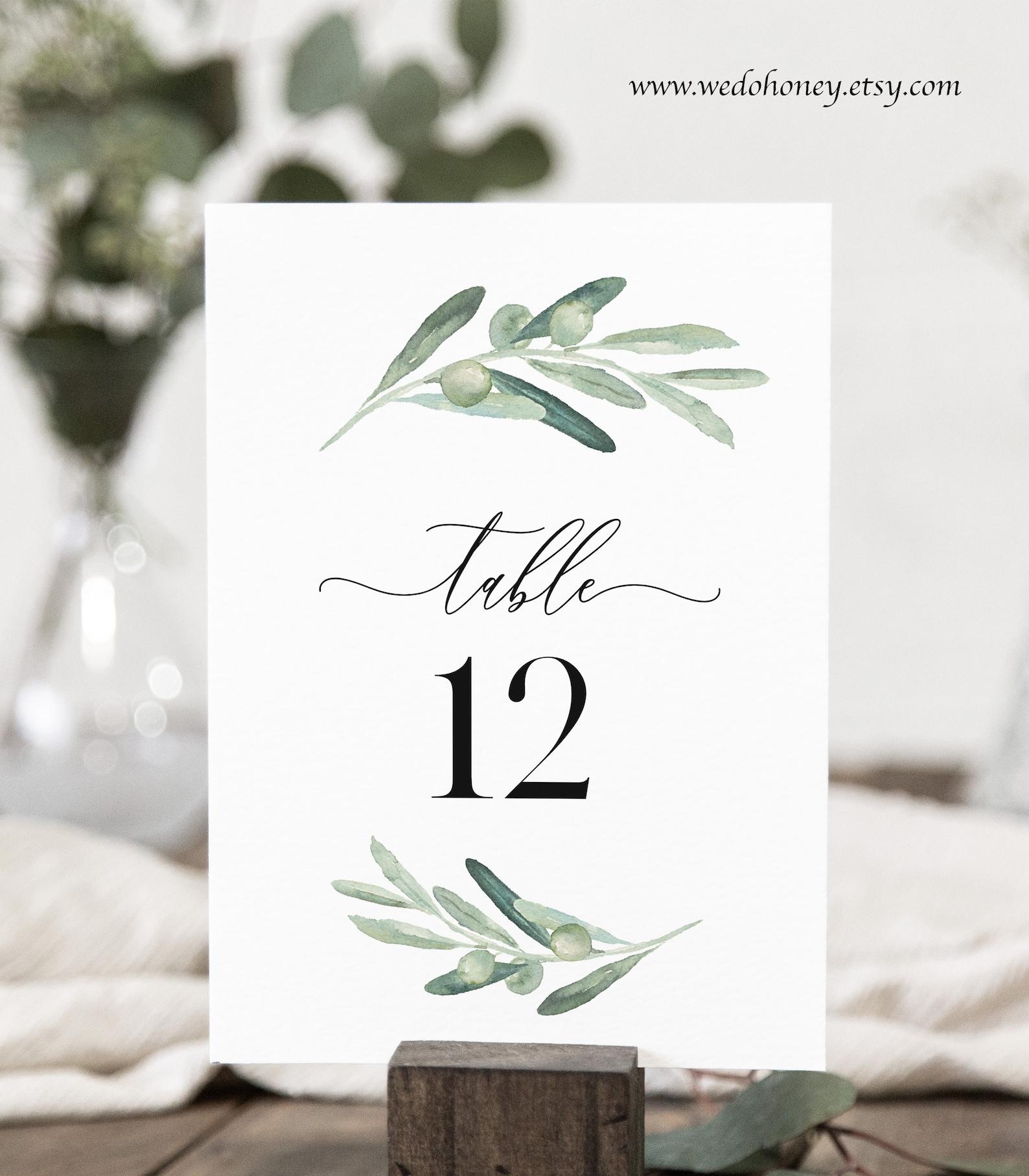 Tischnummern Olive