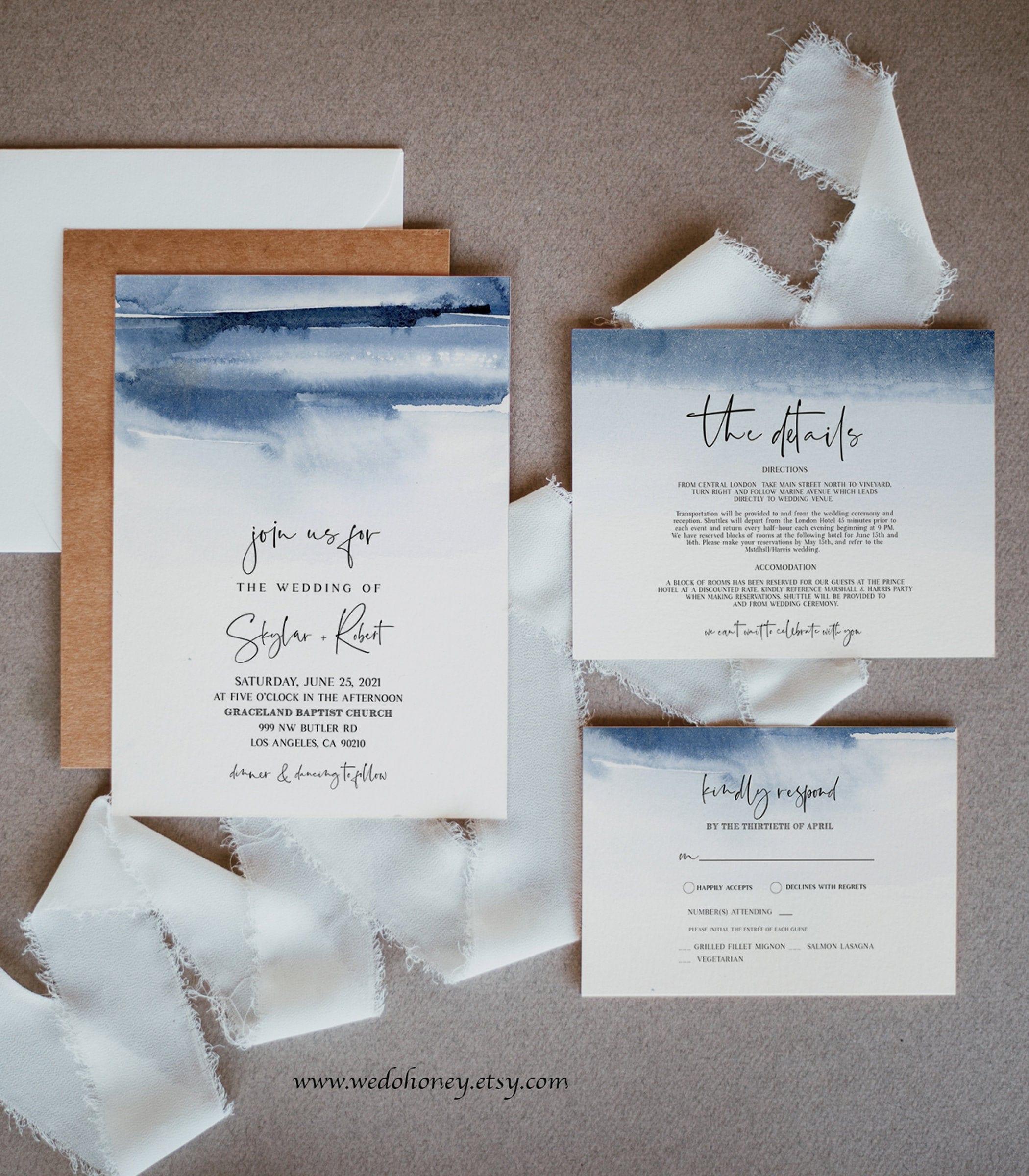 Navy Watercolor Wedding Suite Invitation Template, Blue Digital, Modernist Wedding, Editable Text with Corjl #088