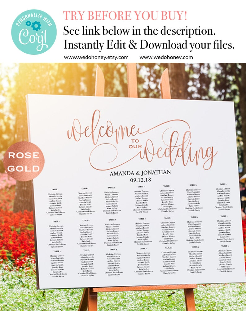 Rose Gold Wedding Seating Chart Template  Welcome Wedding image 0