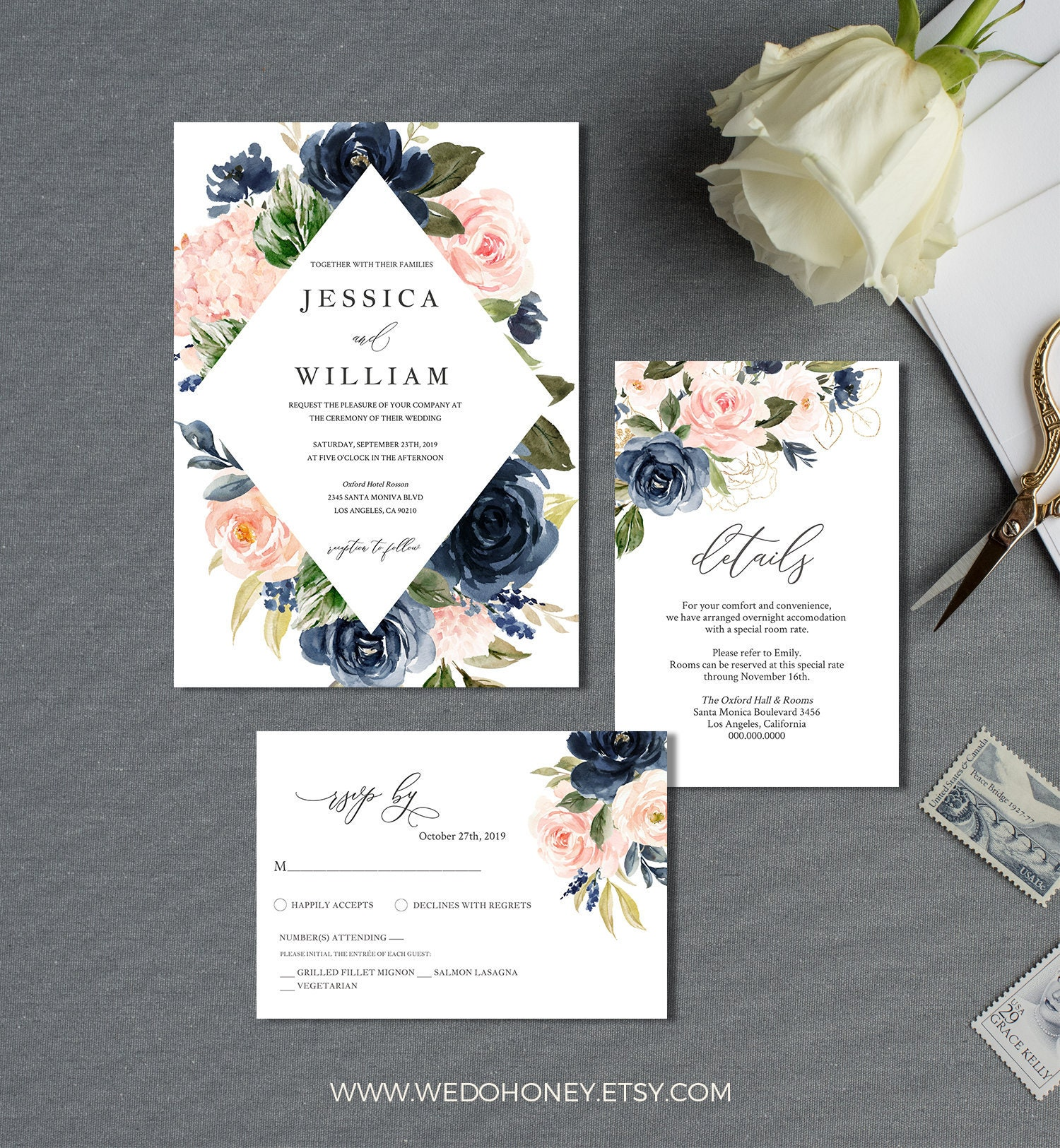 Blush and Navy Watercolor Wedding Invitation Suite, Template, Invite 5x7'', Details 4x6'' and 5X3.5'', RSVP 5x3.5 #021