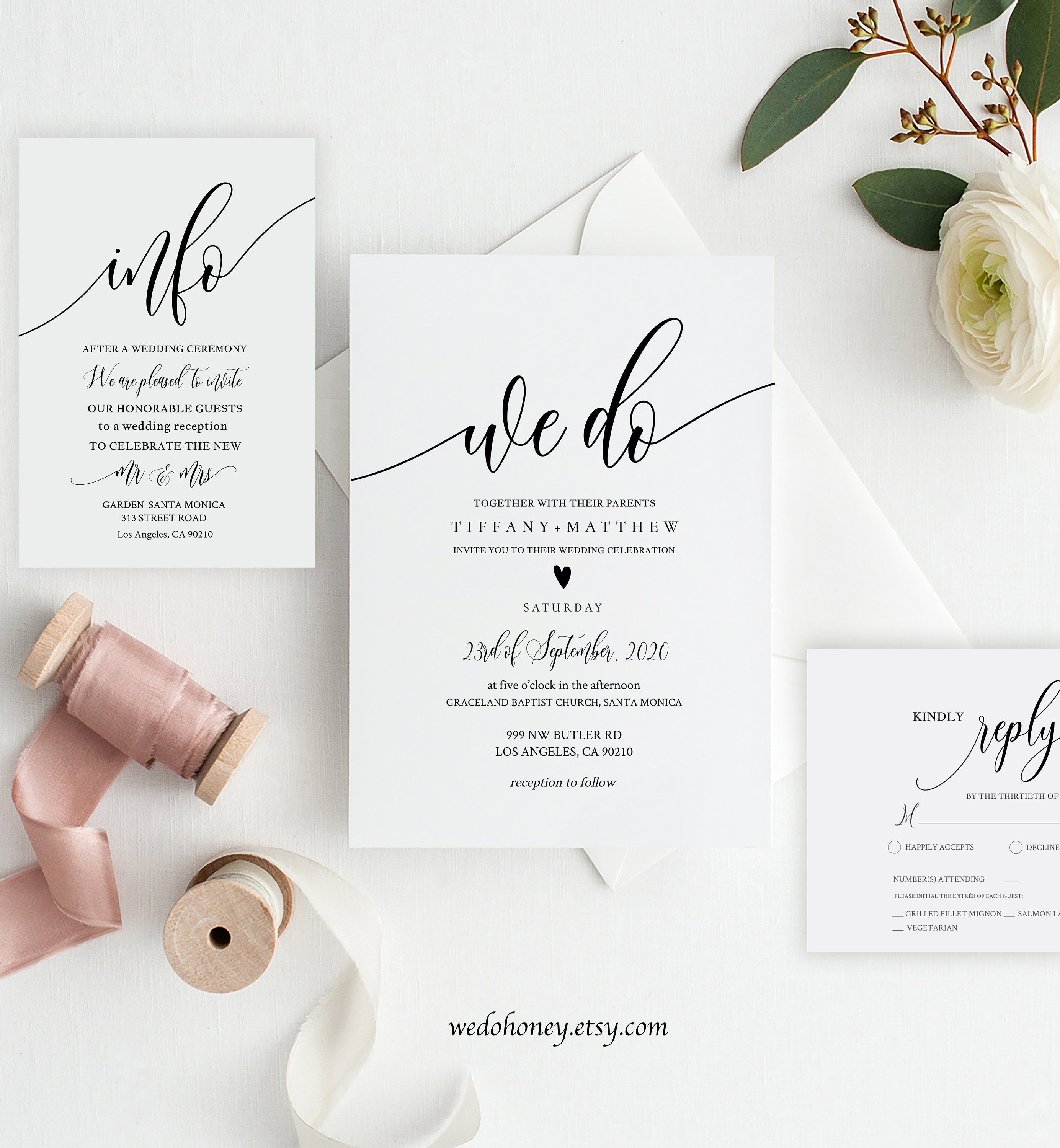 Modern Wedding Suite Invitation Template, Simple and Minimalist Calligraphy, Fully Editable Text with Corjl #0033