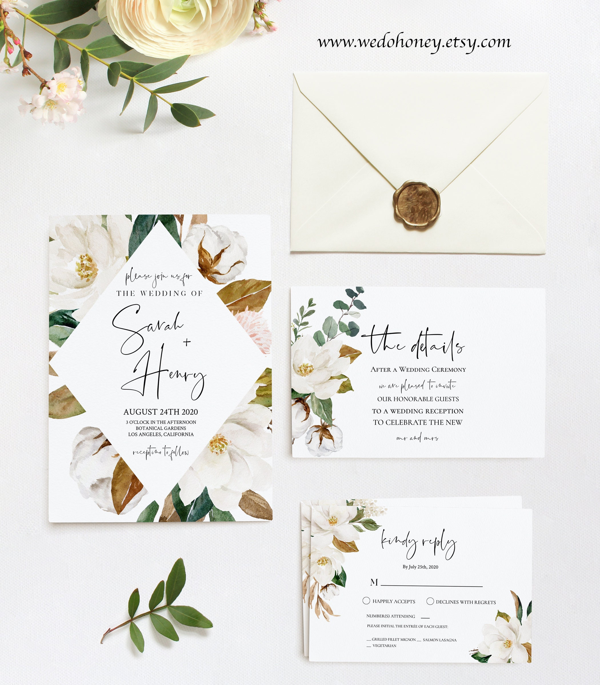 Magnolia Wedding Invitation Printable, Cotton Boll, RSVP and Details Card, Suite, Try before You Buy, Fully Editable Text with Corjl #106