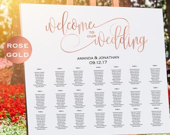 Rose Gold Wedding Seating Chart Template - Welcome Wedding Seating Chart Sign Printable - Simple Wedding - Downloadable wedding #WDH302_16