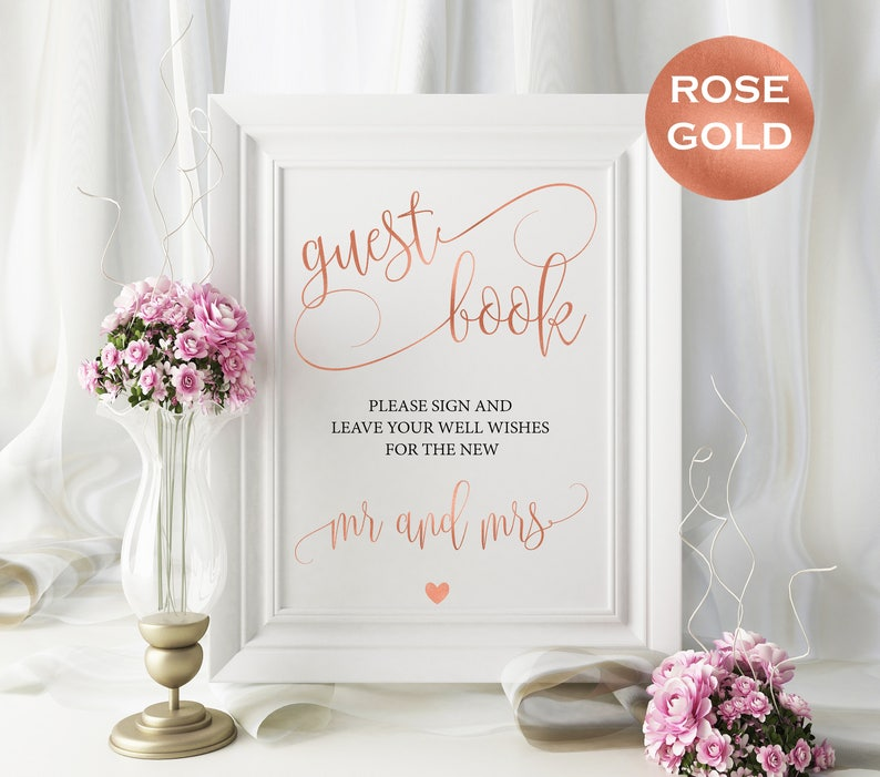 Rose gold guest book sign  Rose gold wedding sign  Guest image 0