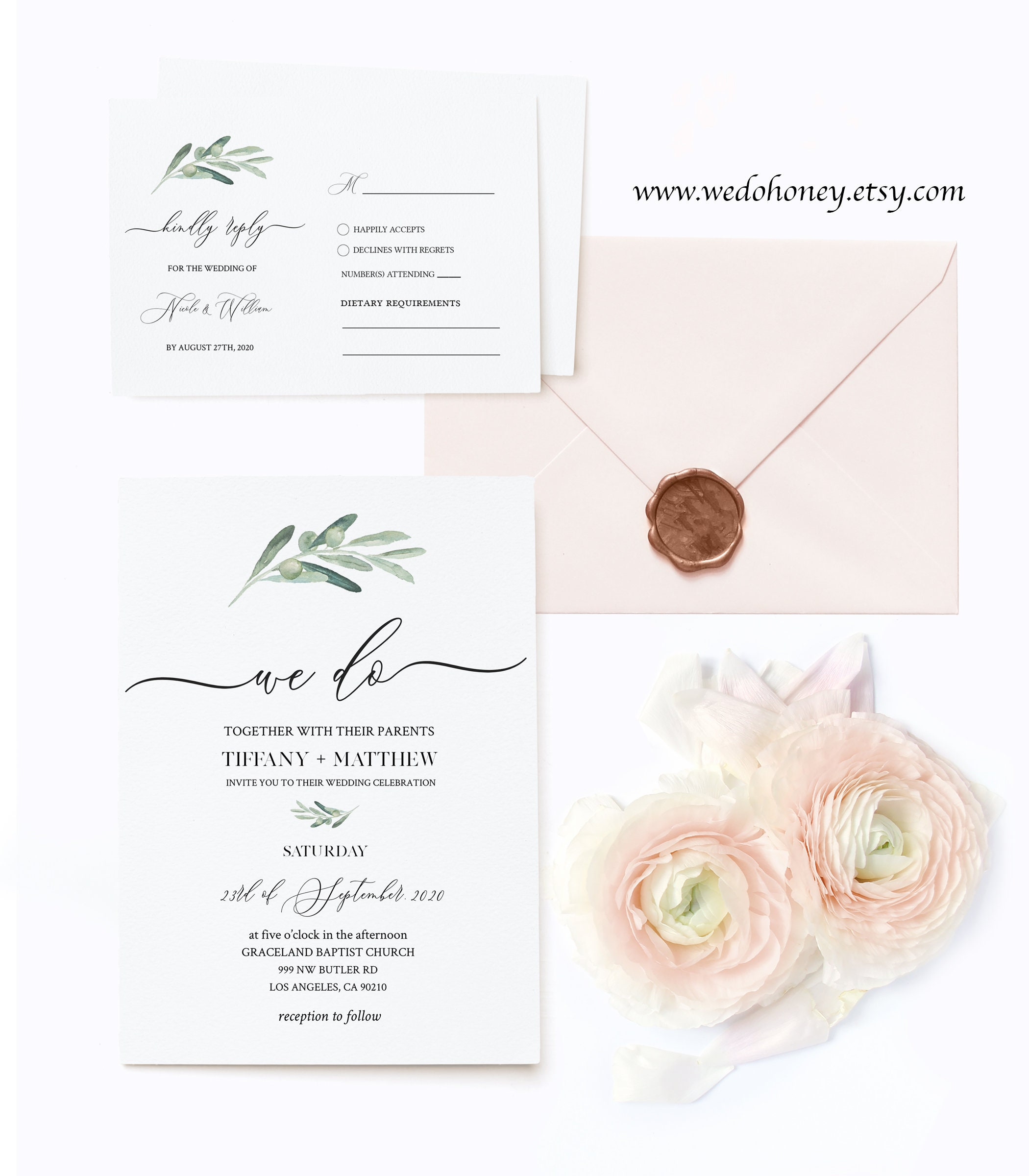 Olive Greenery Wedding Invitation Set Template, Details Card, RSVP, Rustic and Simple Ceremony, Editable Text with Corjl #031
