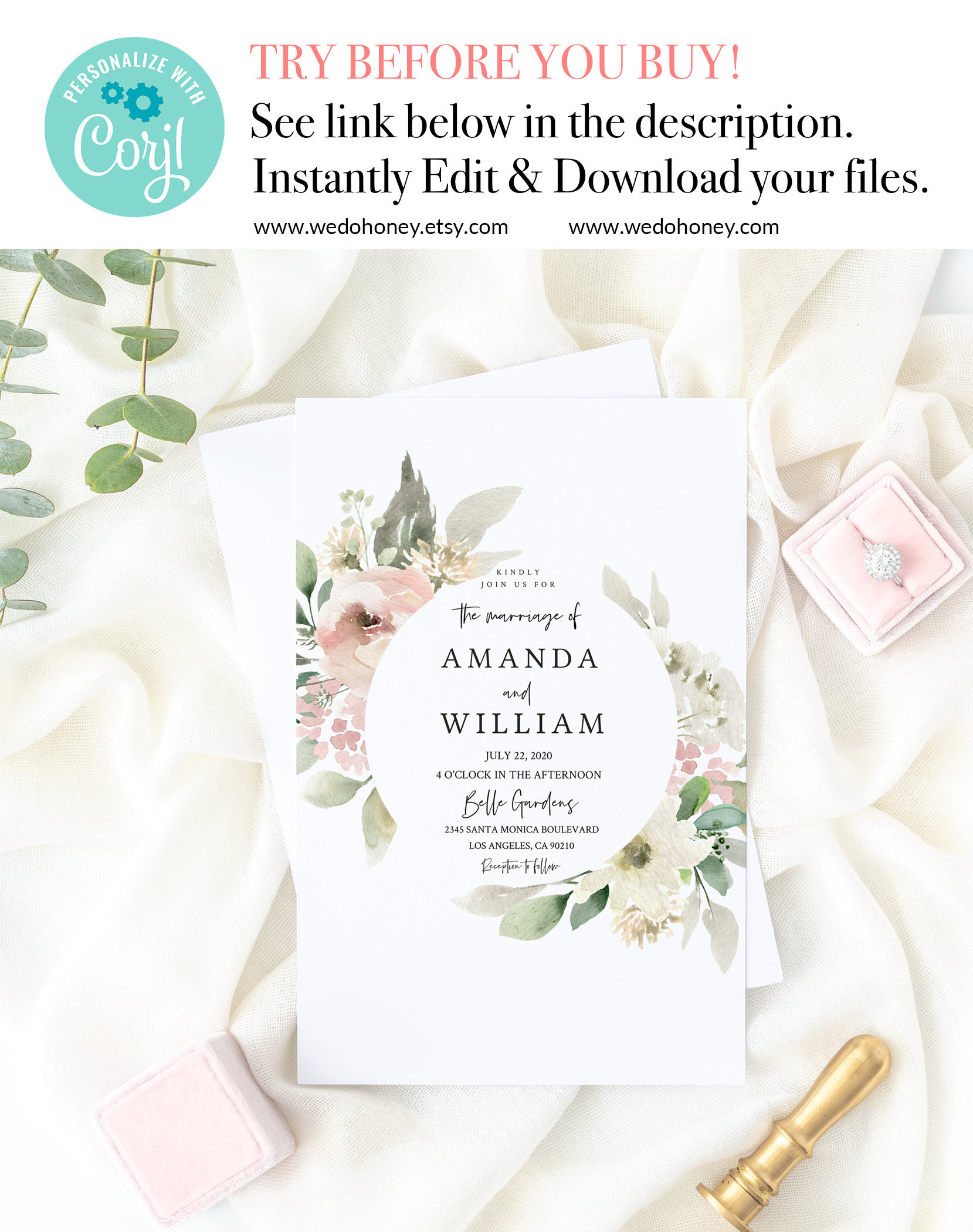 Spring Wedding Invitation Suite, RSVP and Details Card, Editable Text #Spring_11