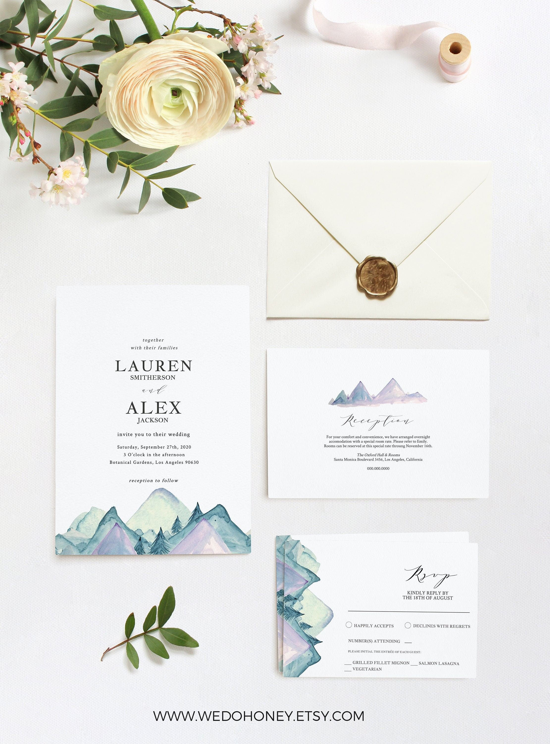Mountain Wedding Invitation Printable, RSVP and Details Card, Editable Text, Rustic and Modern #0167_2