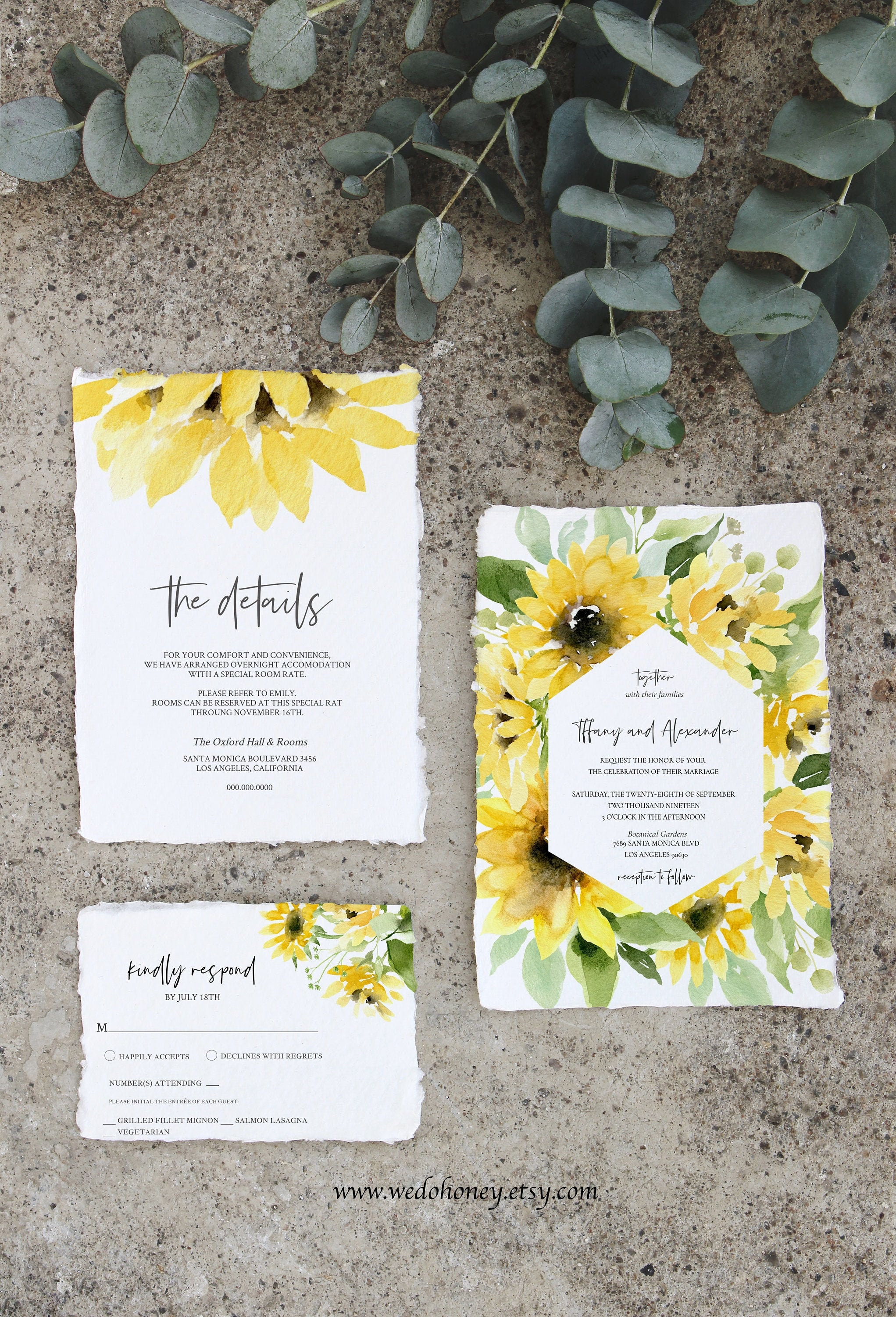 Sunflower Wedding Invitation Suite, Sunflowers Watercolor, Editable Template, Yellow and Greenery #00101_1