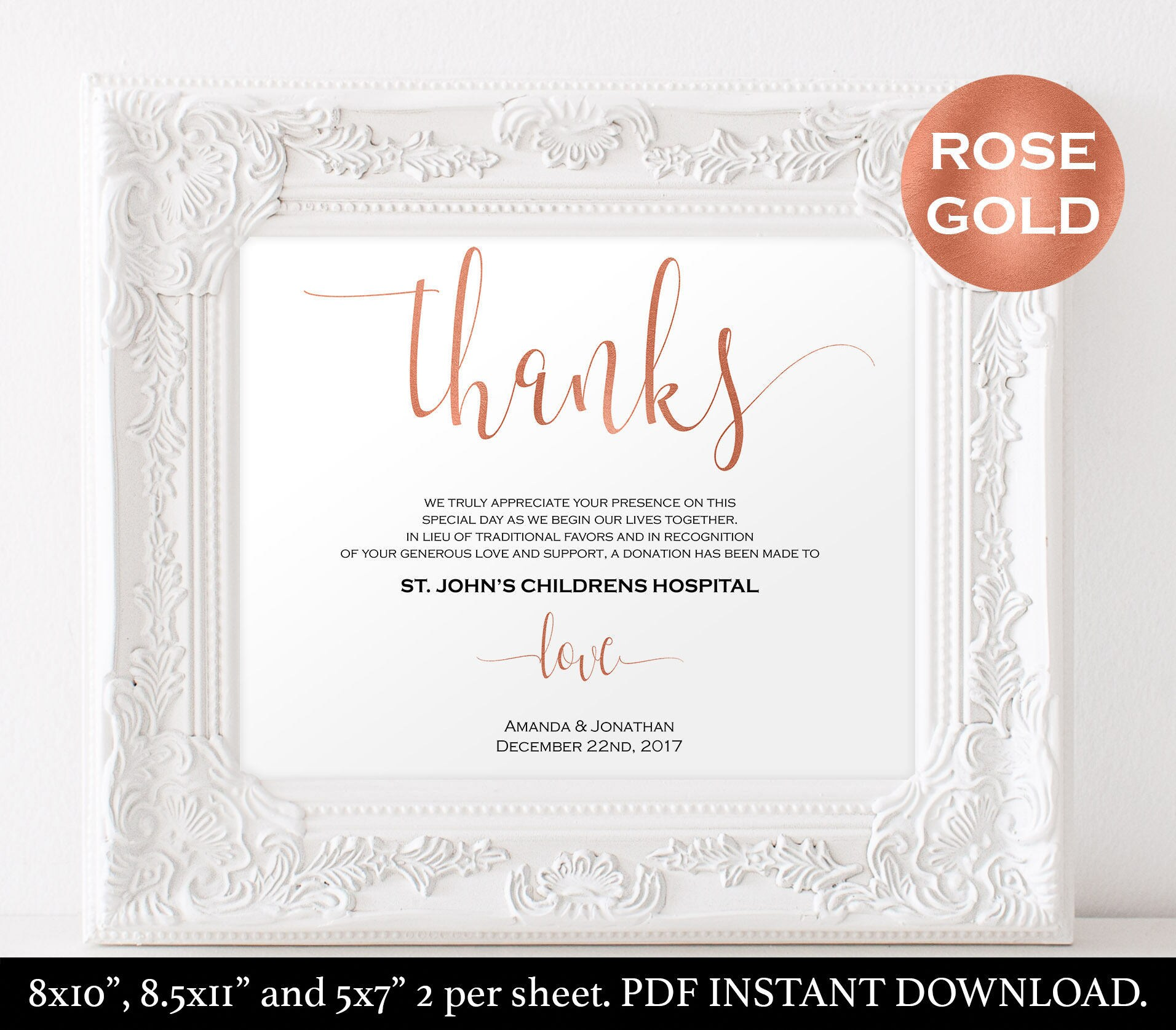 In Lieu of Wedding Favors Thank You Donation Printable | Etsy