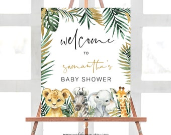 Editable Safari Welcome Baby Shower Sign, Jungle Animal Baby Shower, Instant Download, Corjl #023