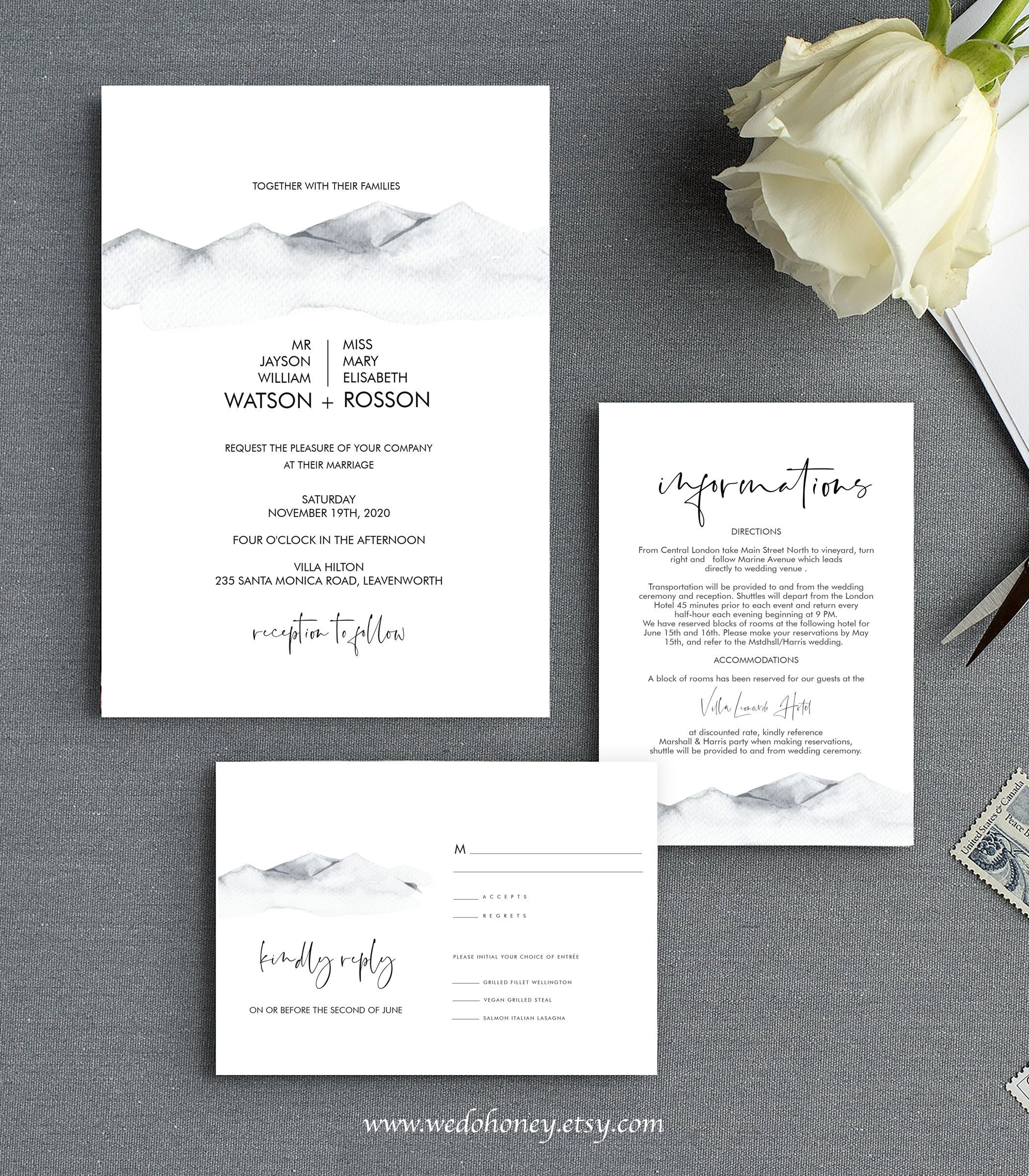 Rustic Mountain Wedding Invitation, Watercolor Mountains, Suite Template, Editable with Corjl  #071