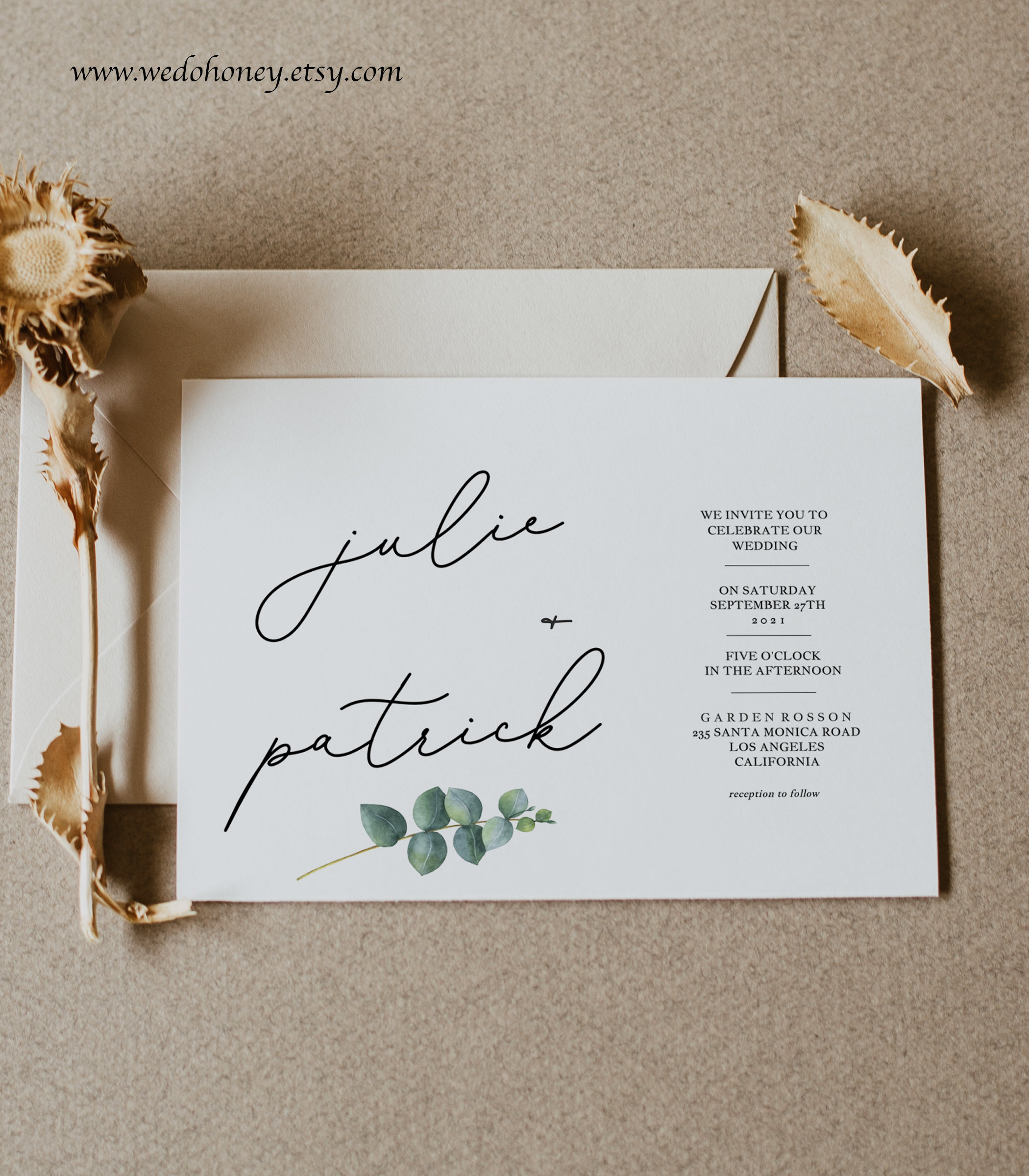 Eucalyptus Wedding Suite Invitation Template, Greenery Cards, Rustic and Modern, Editable Text with Corjl #079
