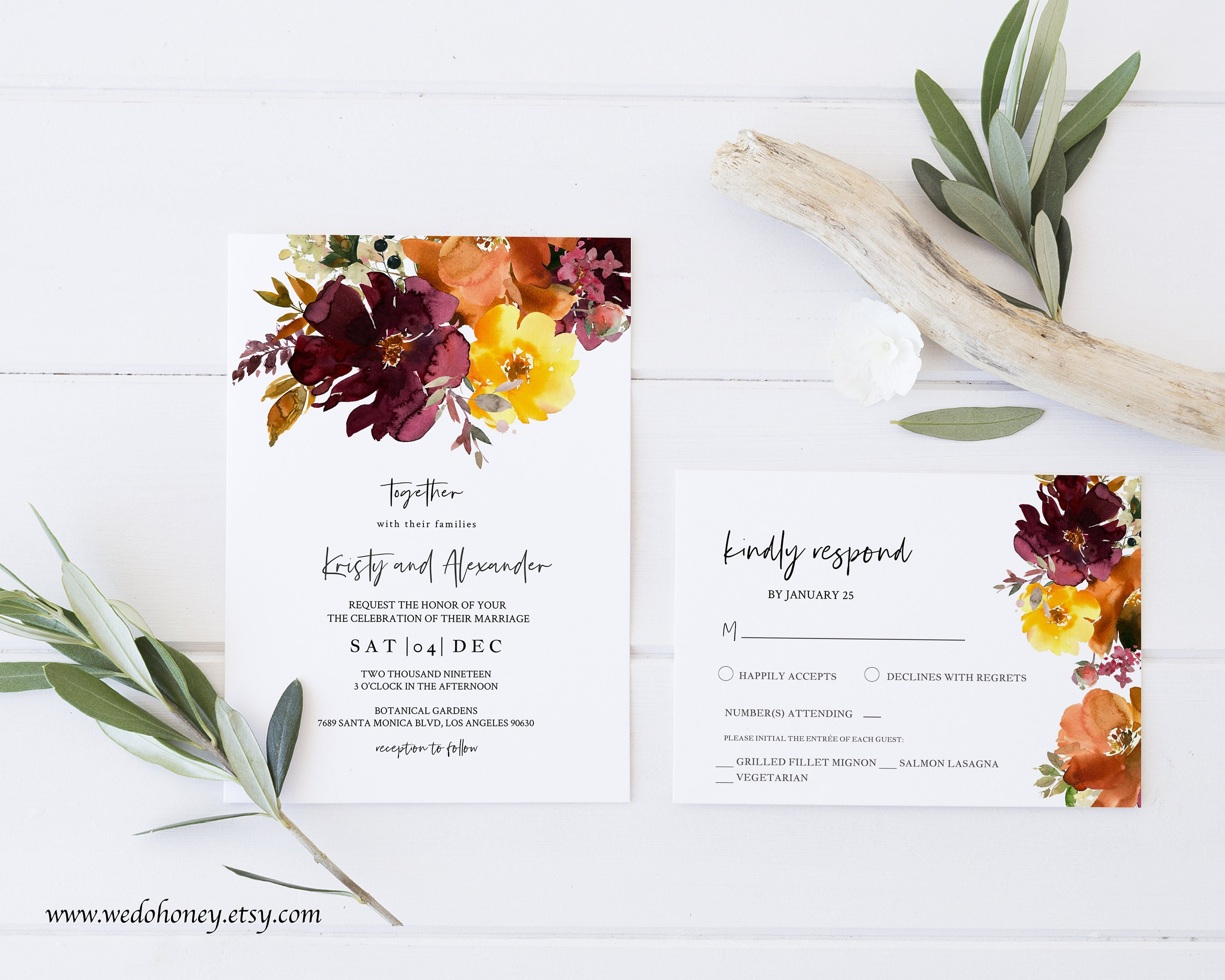 Fall Wedding Invitation Set Template, Autumn Flower, Maroon and Curry, Editable Text, RSVP and Details Card  #055_13