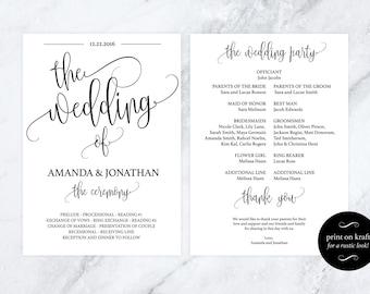 Wedding Program Template - Kraft Paper Program - Printable Wedding Program - DIY Wedding Programs - Downloadable wedding #WDH301_14