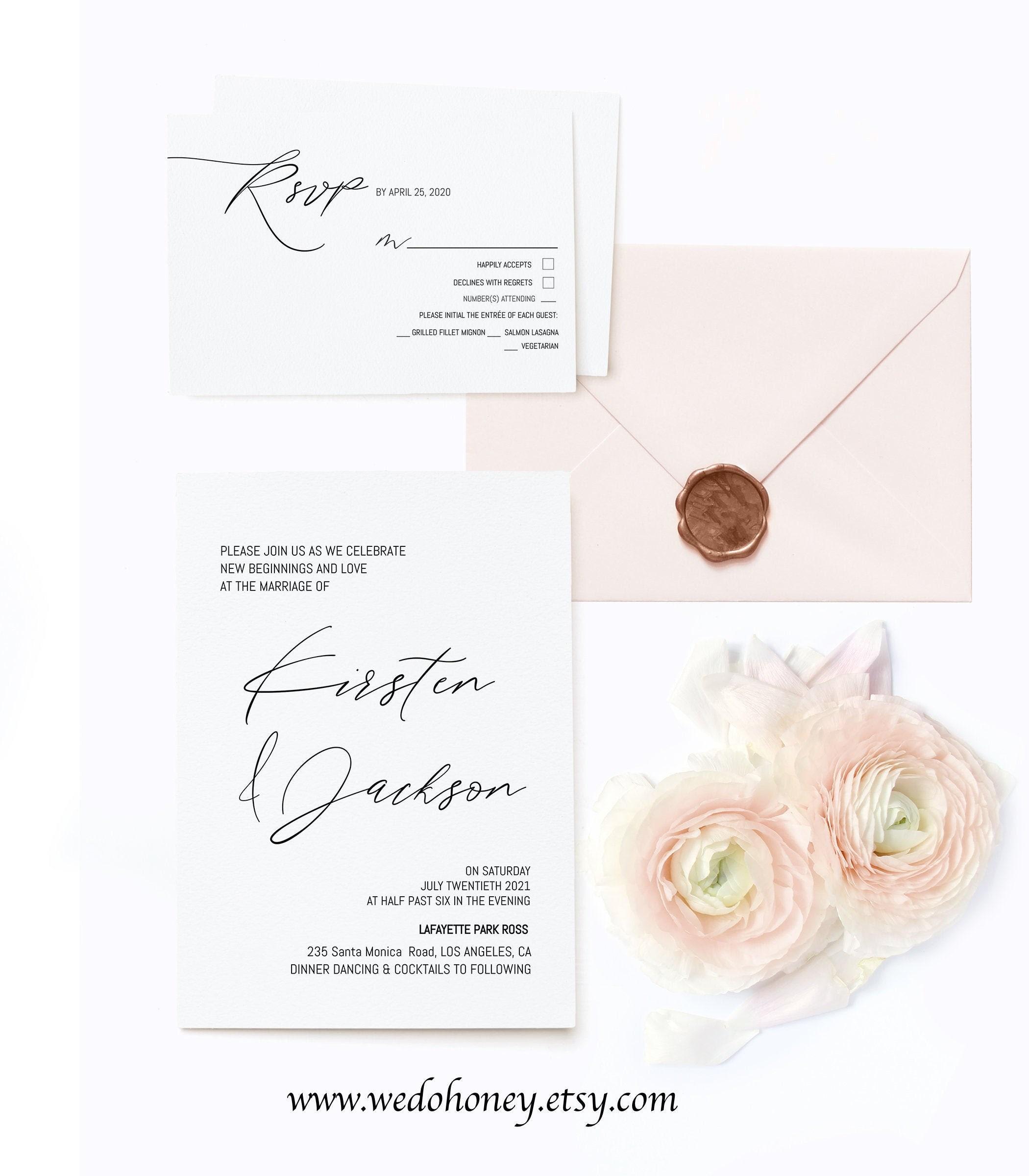 Minimalist Wedding Invitation Set Template, Fully Editable Text, Modern and Simple, Invitation 5x7'', RSVP 4x6'' and 5x3.5''