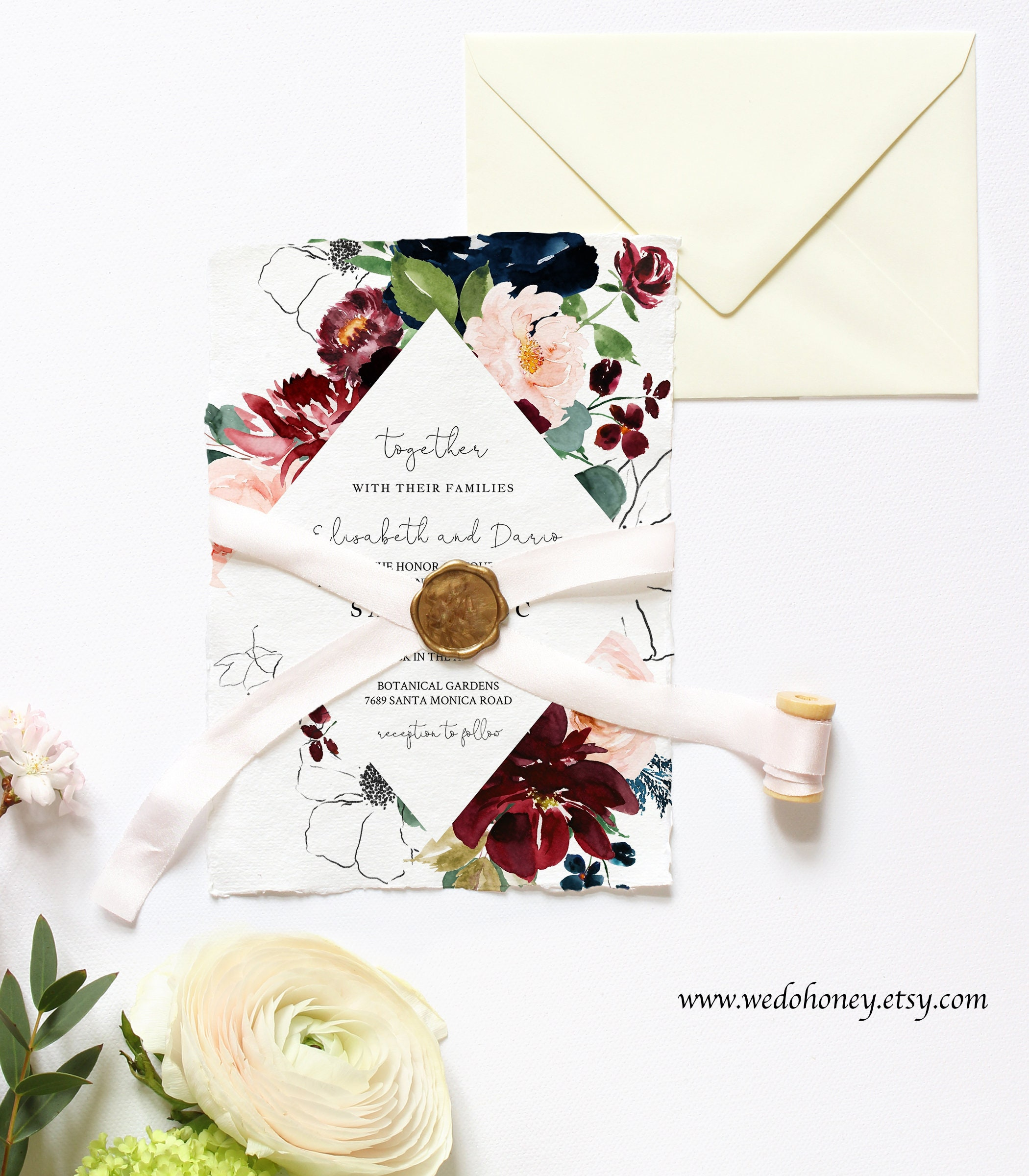 Burgundy Navy Wedding Suite Invitation, RSVP & Details Card, Boho Chic, Instant Download, Editable Text with Corjl #080