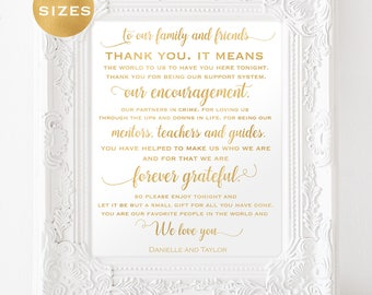 Gold thank you wedding signs - thank you wedding sign gold foil - printable thank you wedding sign - PDF instant download wedding #WDH312_2