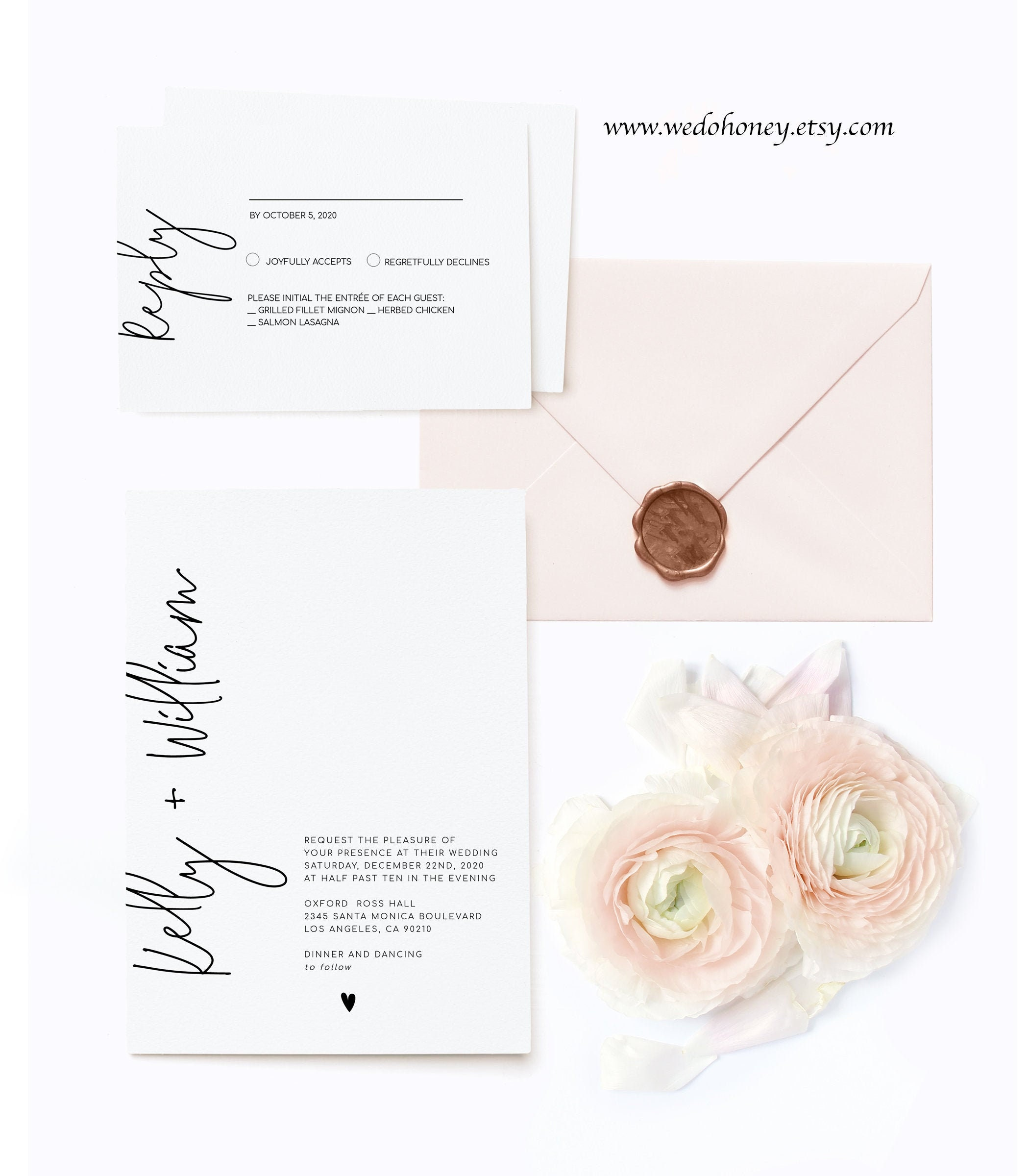 Minimalist Wedding Suite Invitation Template, Modern and Trendy, Editable Text with Corjl #042
