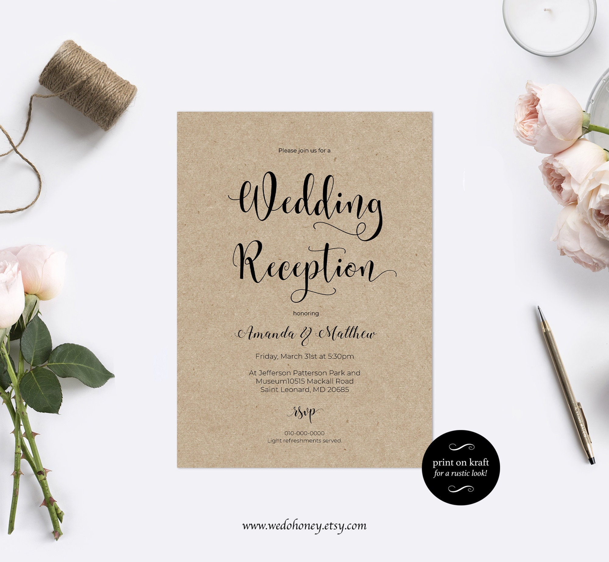 Simple Wedding Reception Invitation, Fully Editable Modern Calligraphy, Edit prior purchase, Download and print.