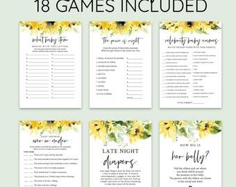Sunflower Baby Shower Game Bundle, Editable Set Games, Baby shower games bundle, Corjl #00101