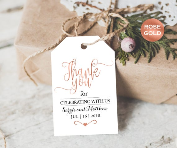 Rose Gold Favor Tags - Printable Wedding Favor Tags Template - Thank ...