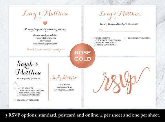 Wedding Rsvp Postcard Rose Gold Rsvp Rsvp Cards Rsvp Online