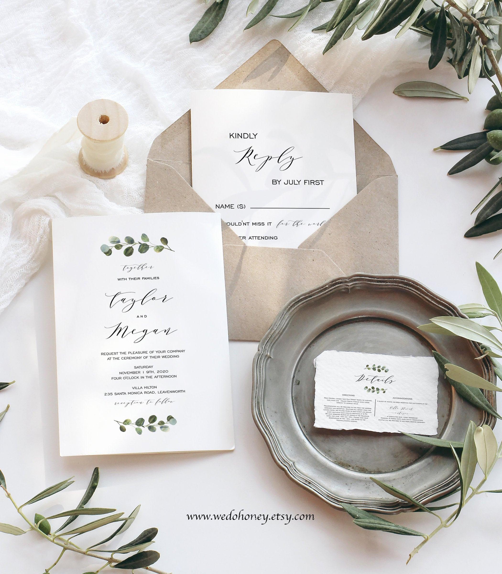 Greenery Wedding Invitation Set, Rustic Wedding Suite, Editable Text with Corjl  #033