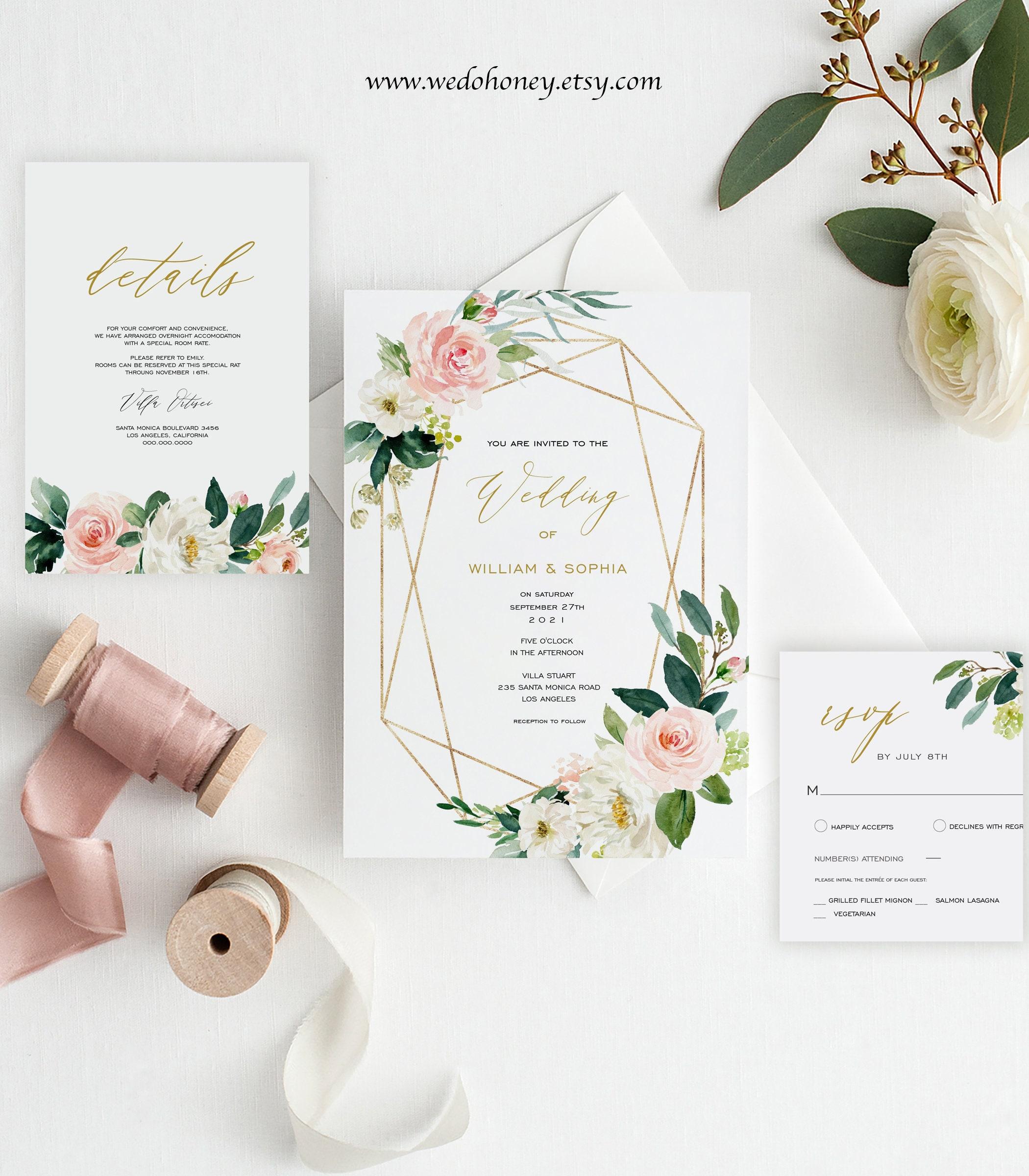 Template Wedding Invitation Suite, Printable Set Cards, RSVP, Details Insert, Gold Blush Floral, Editable Text with Corjl #059