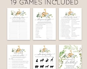 Jungle Safari Baby Shower Games Bundle, Greenery Jungle Animals, Editable Games with Corjl #002