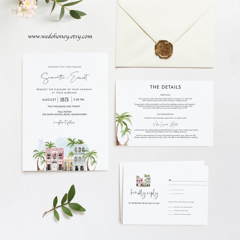 Charleston Wedding Suite Template, Rainbow Row Wedding Invitations, Printable Set Cards, Editable Text with Corjl #013