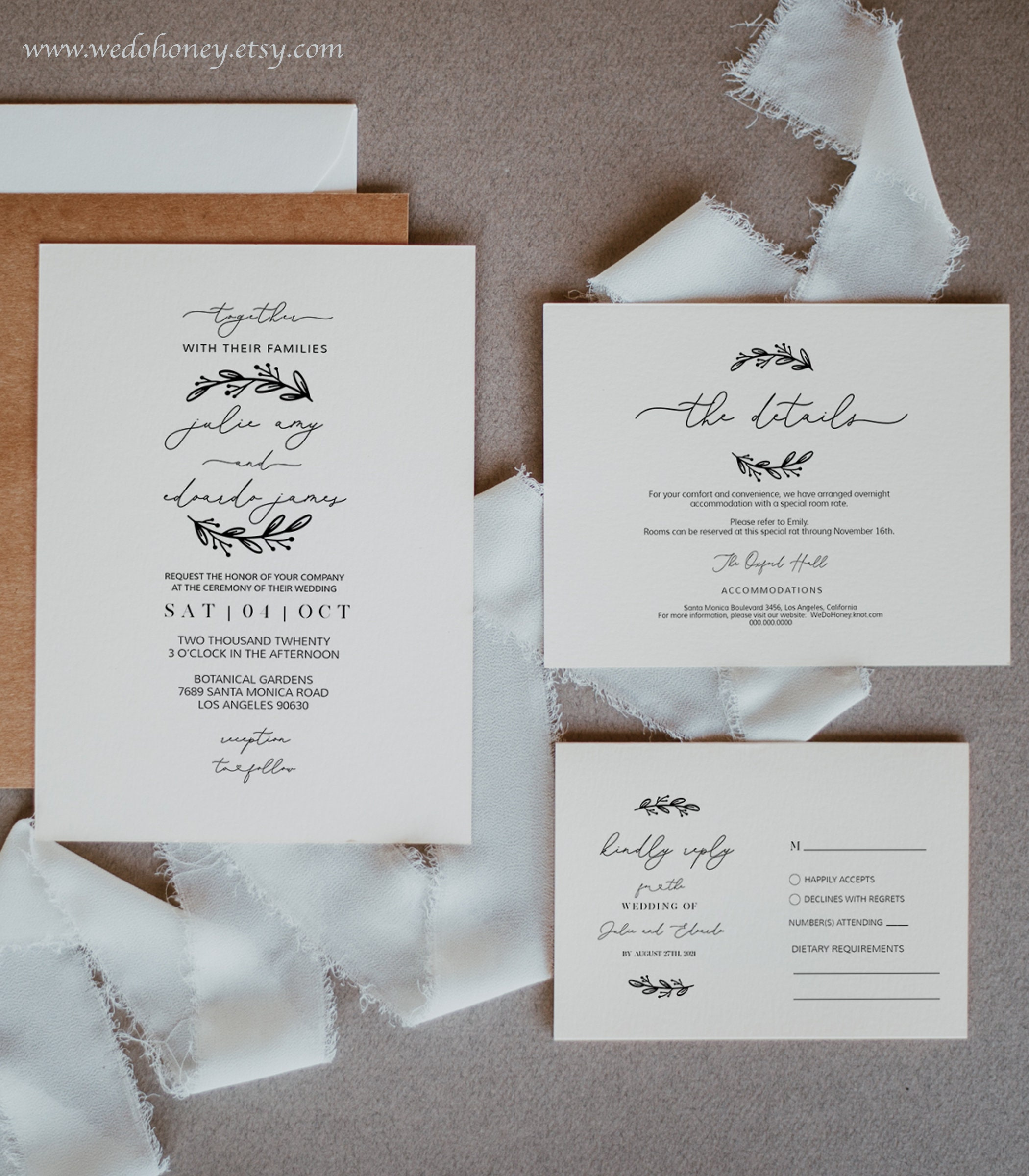 Editable Wedding Suite Invitation Template, Heart Calligraphy, Simple and Rustic Ceremony, Fully Editable Text with Corjl #096