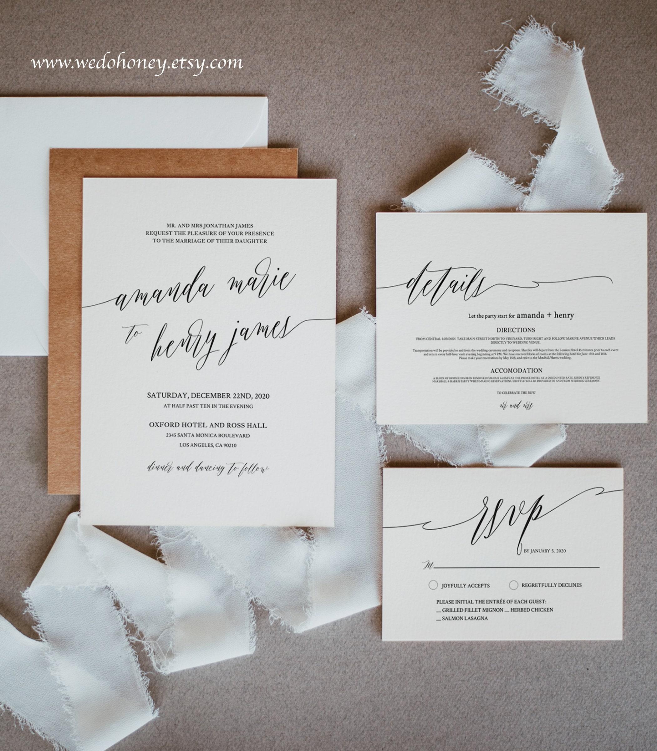 Calligraphy Wedding Suite Invitation Template, Minimalist, Modern and Elegant Wedding, Editable Text with Corjl #025