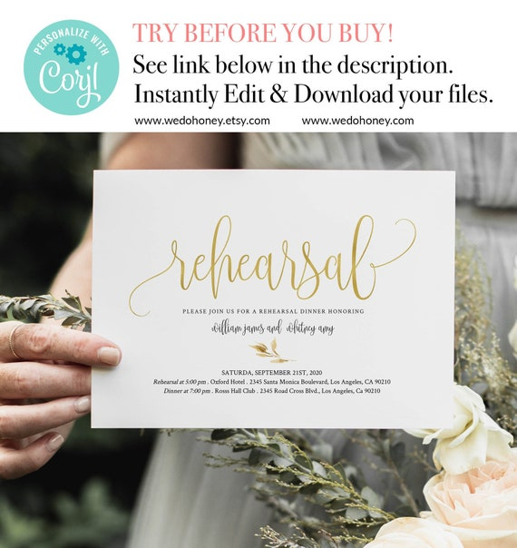 Gold Rehearsal Dinner Invitation Template Instant Download
