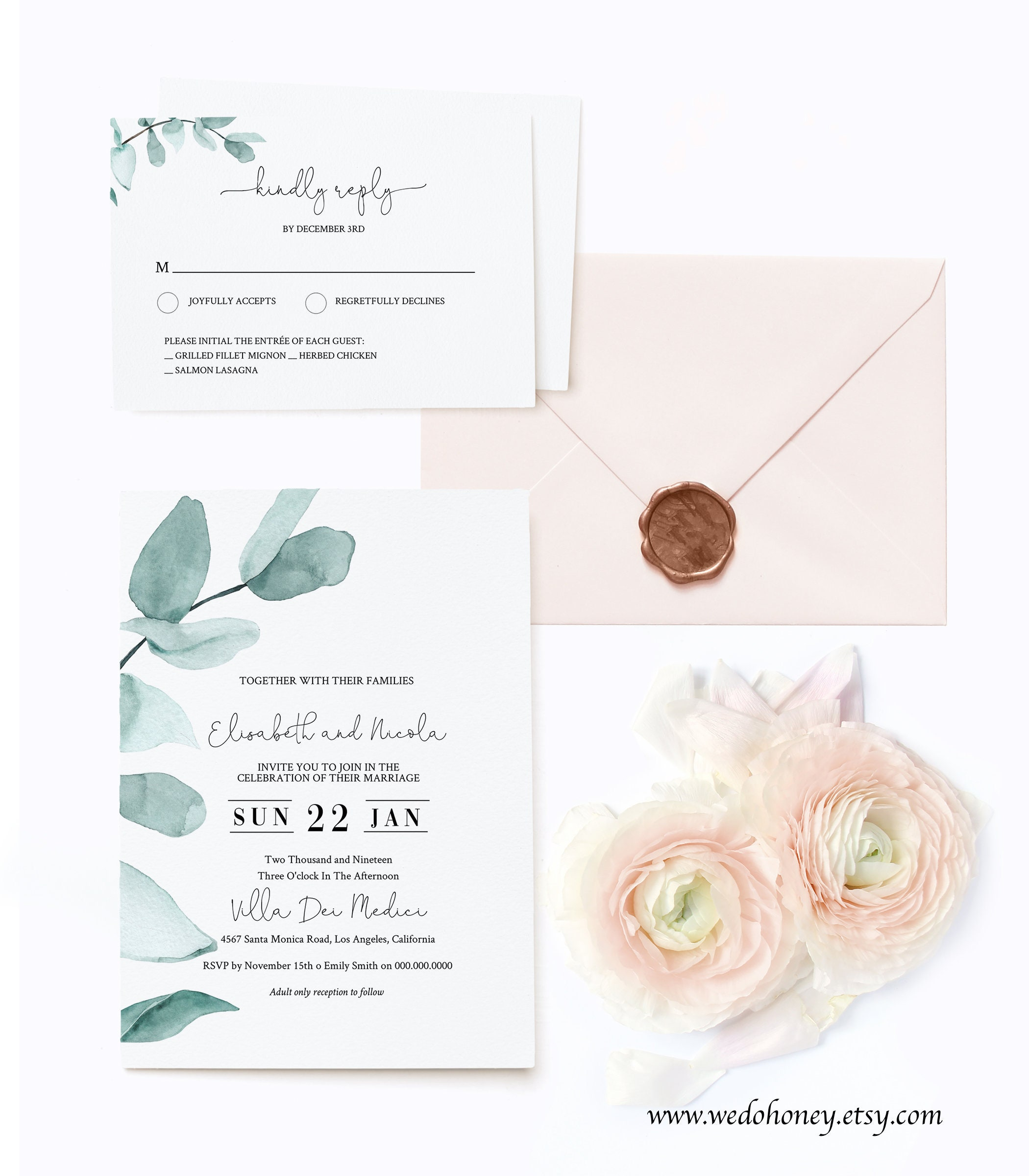 Eucalyptus Wedding Suite Invitation Template, Fully Editable Text, Modern and Rustic, Watercolor Foliage Set, Instant Download #072