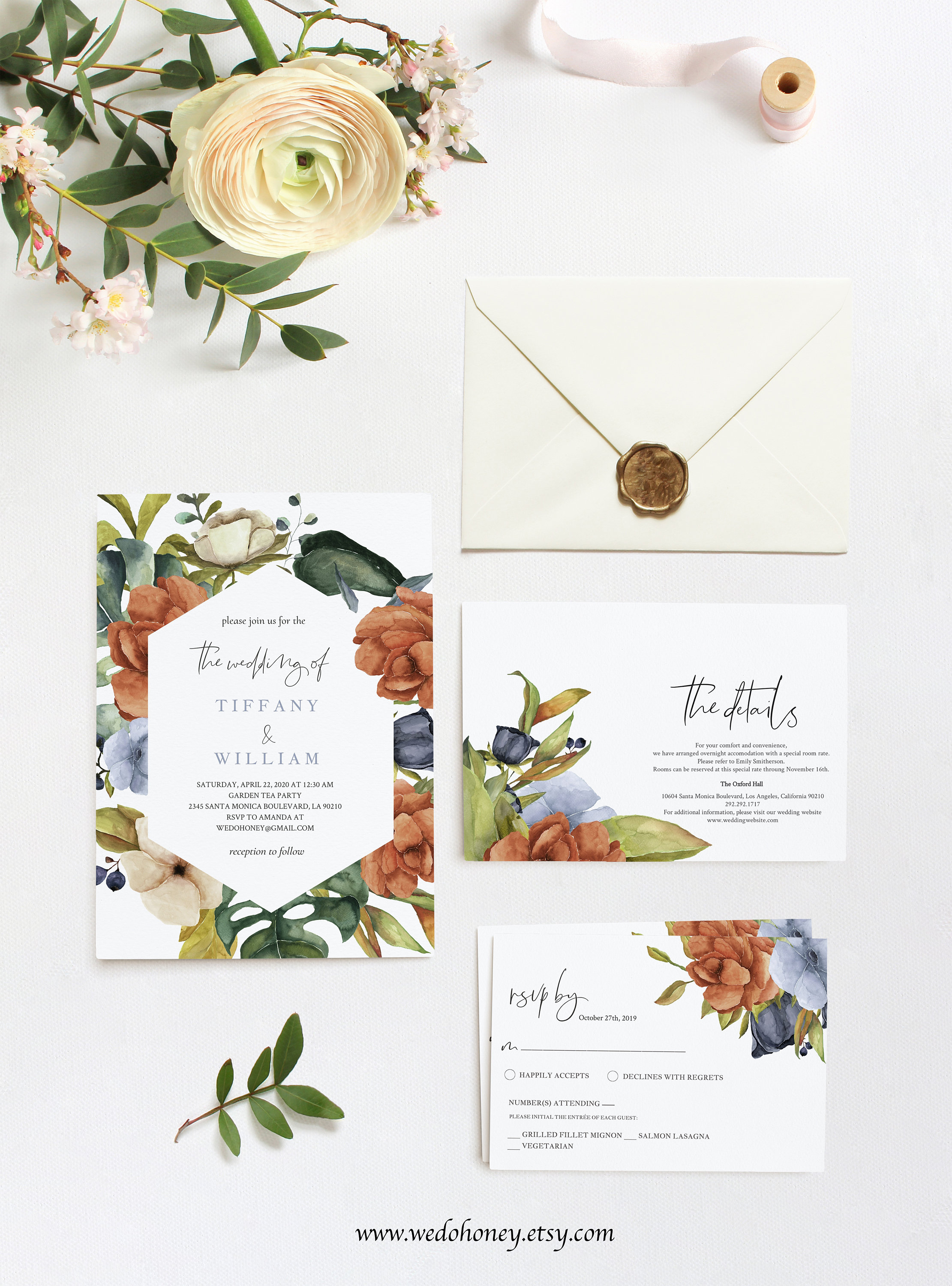 Burnt Orange Wedding Invitation Set, RSVP and Details Card, Try before You Buy, Fully Editable Text