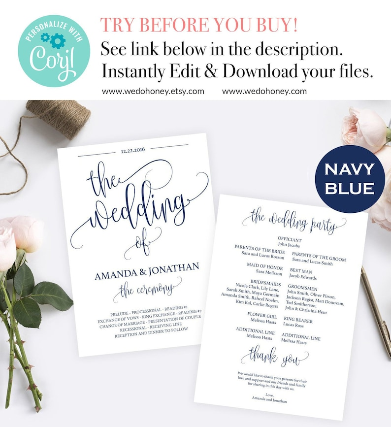 Wedding Program Template Navy Blue Instant Download Fully image 0