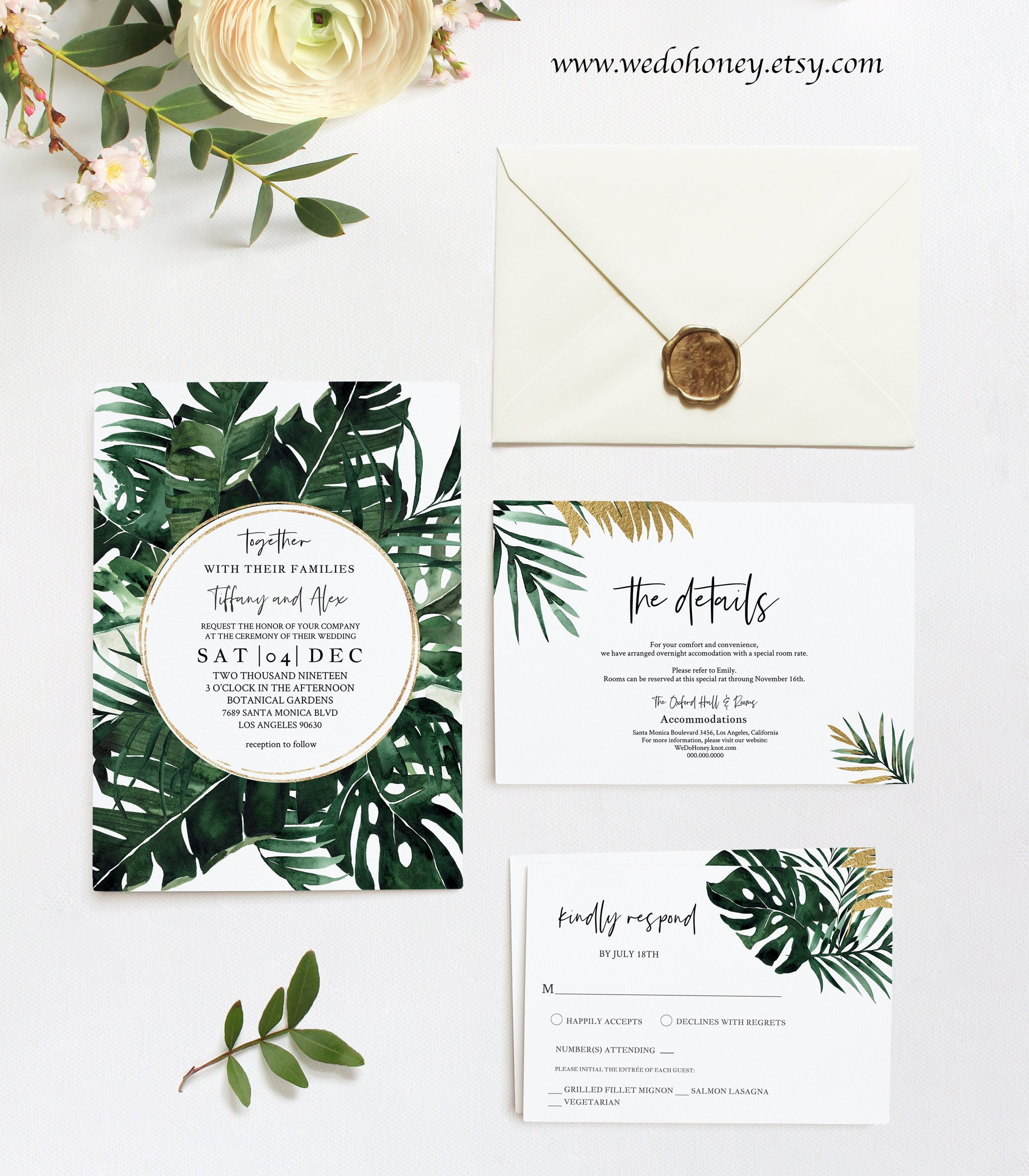 Tropical Greenery Wedding Invitation Suite, Green Gold Summer Template, Destination Wedding, Editable Text with Corjl #093