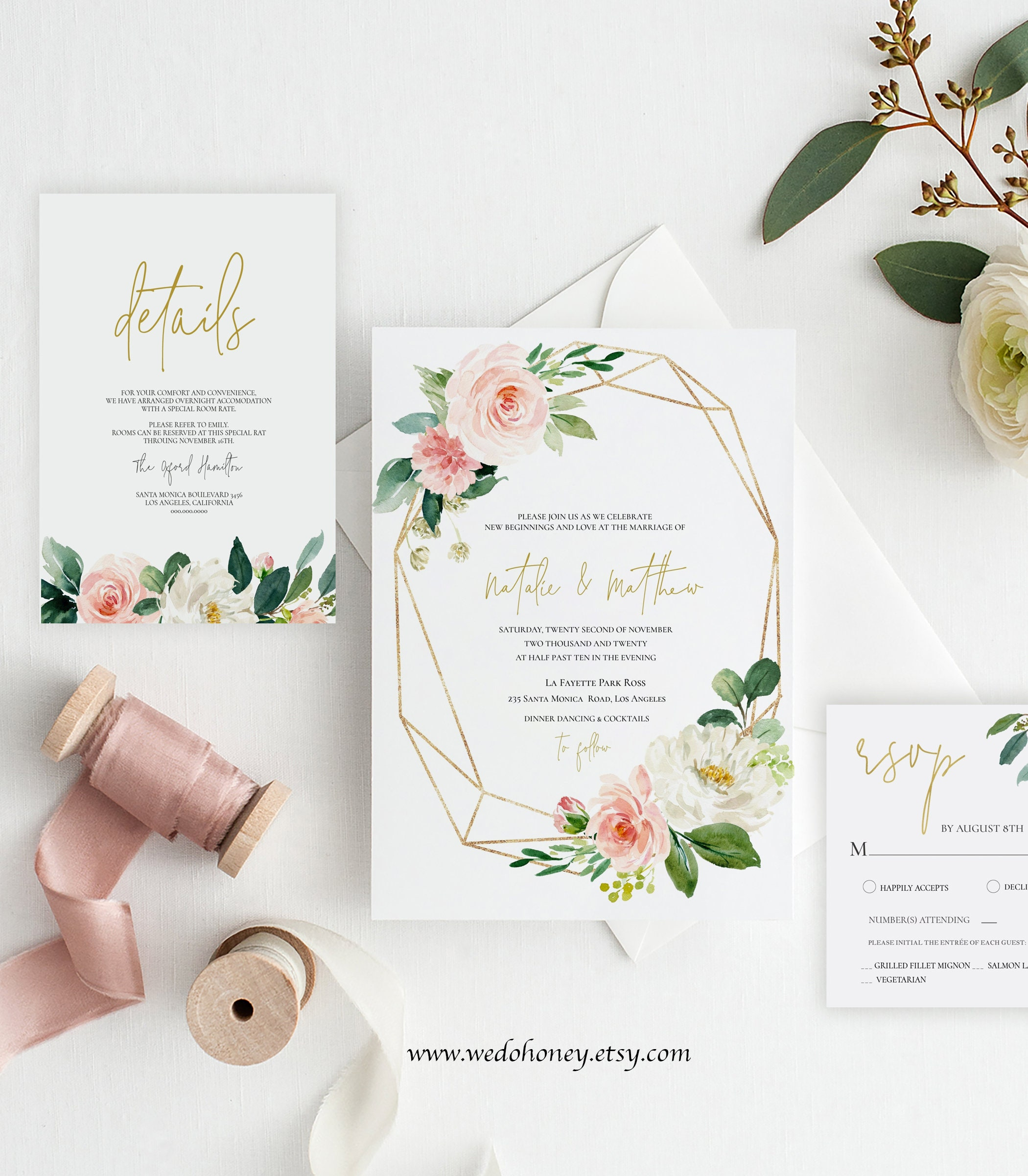 Editable Wedding Suite Invitation, Watercolor Pink Floral, Gold Frame, Boho, Instant Download, Editable Text with Corjl #039