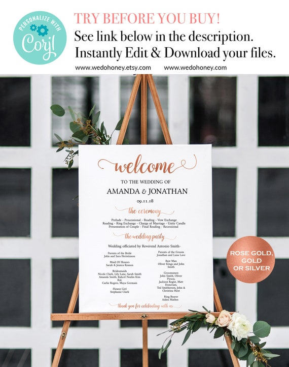 Welcome Ceremony Sign, Rose Gold Welcome Printable , DIY Welcome Wedding Sign , Modern Wedding, Downloadable wedding #WDH320_24