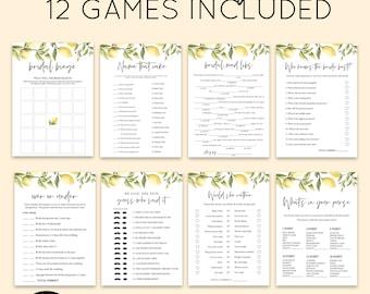 Lemon Bridal Shower Game Bundle, Personalize Name and Questions, Citrus Lemon Bridal Games, Editable Games with Corjl #087