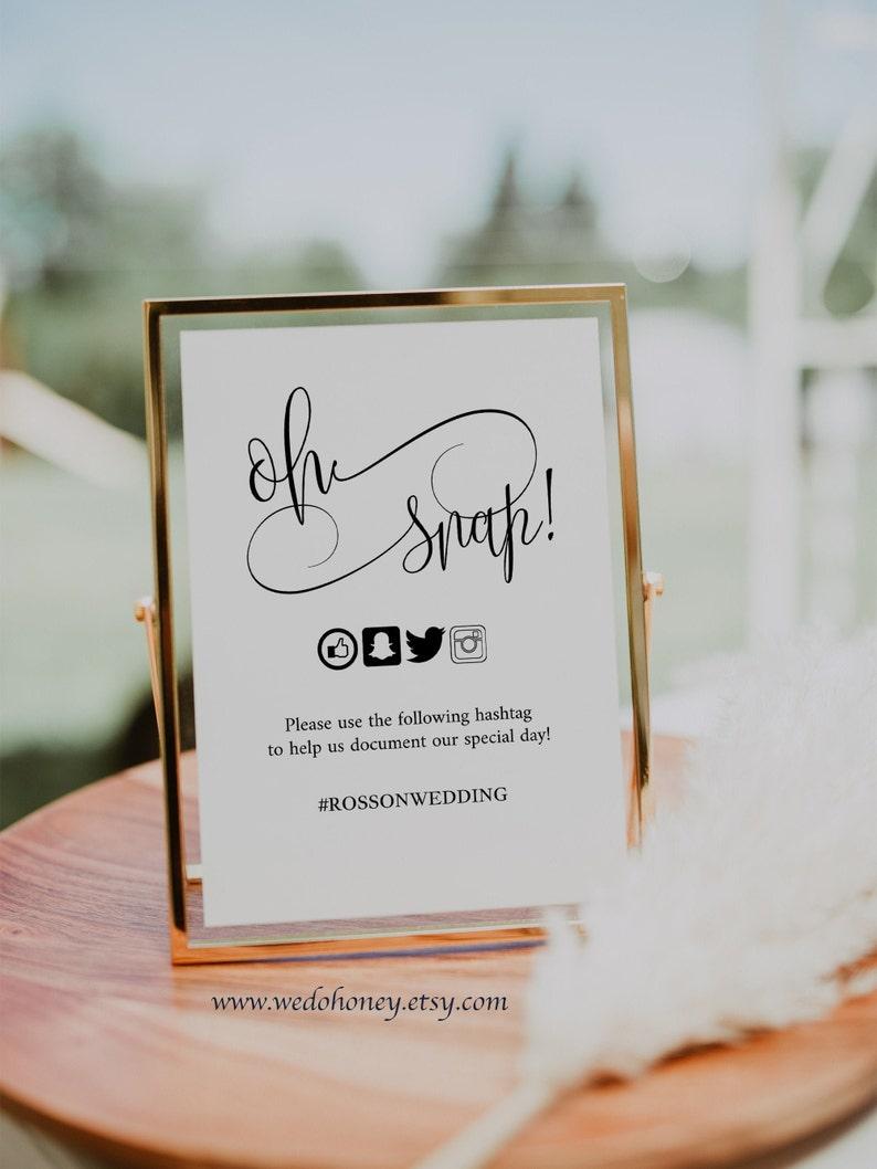 Oh Snap Wedding Sign Wedding Social Media Editable Hashtag image 1