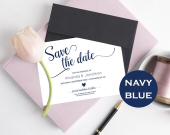 Navy Blue & white Wedding Save the Date Template - Save the Date Printable - Wedding Printable - Calligraphy, Downloadable wedding #WDH305_4
