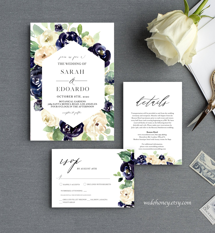 Navy Floral Wedding Invitation Suite, Navy Ivory Wedding, Template, Set, Edit wit Corjl #051