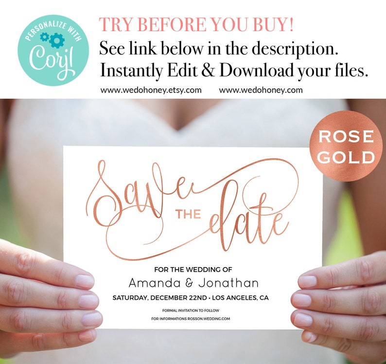 Rose Gold Save The Date Template Faux Foil Rose Gold Modern image 0