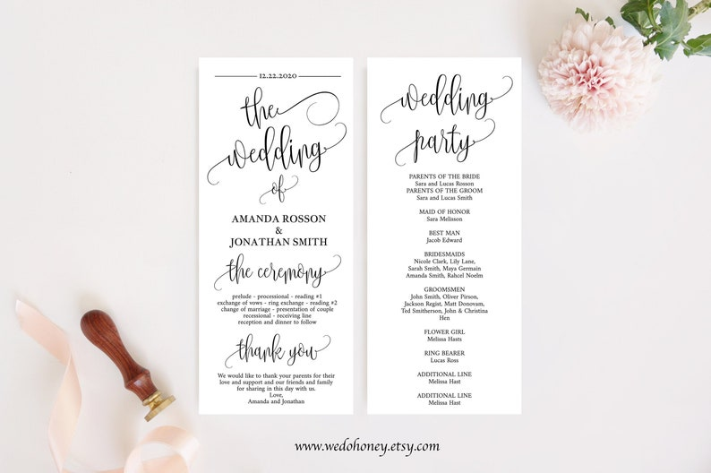 Wedding Program Template Fully Editable Calligraphy Modern image 0