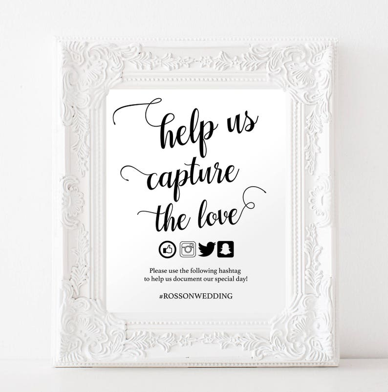 Capture the Love Hashtag Sign  Wedding Hashtag Sign  Social image 0